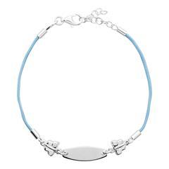 Gravierbares Kinderarmband Silberelemente blau