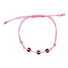 Pinkes Kinderarmband Textil mit Silberelementen