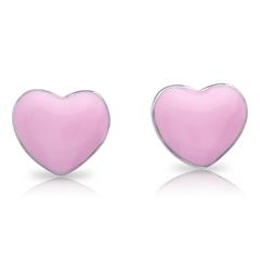 925 Silber Ohrstecker pinkes Herz für Kinder