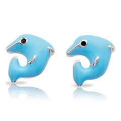 925 Silber Ohrstecker blauer Delfin für Kinder