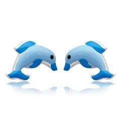 Kinderohrstecker Silber mit Delfinmotiv blau