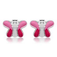 925 Silber Kinderohrstecker Schmetterling pink