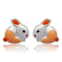 Kinderohrstecker 925 Silber Hase orange
