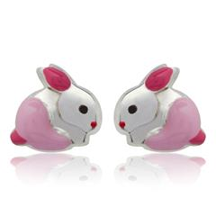 925 Silber Kinderohrstecker Hase pink