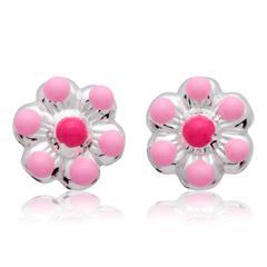 Kinderohrstecker 925 Silber Blumenmotiv pink