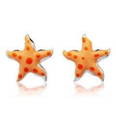 925 Silberohrstecker für Kinder orange Sterne