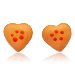 925 Silberohrstecker für Kinder oranges Herz