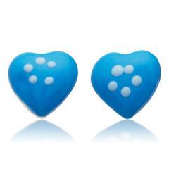 925 Silberohrstecker für Kinder blaues Herz