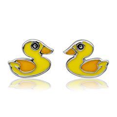 Ohrstecker für Kinder 925 Silber gelbe Ente