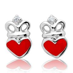 Kinderohrstecker rotes Herz mit Krone 925 Silber