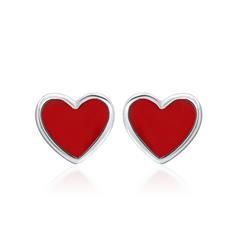 925er Sterlingsilber Kinderohrstecker rotes Herz