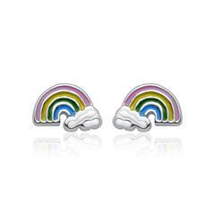 925er Sterlingsilber Kinderohrschmuck Regenbogen