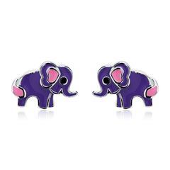 Kinderohrstecker lila Elefant aus 925er Silber