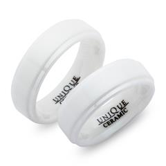 Weisse Eheringe aus Keramik 7mm matt