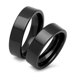 Keramik Ehering-Set mit schwarzer Oberfläche