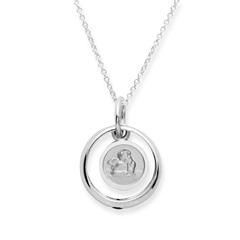Taufkette 925 Silber Saphir Engel