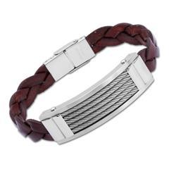 Braunes Leder Armband mit Edelstahlplatte 21cm