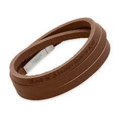 Armband aus braunem Leder gravierbar
