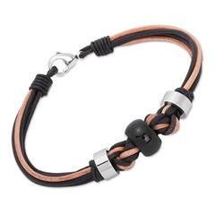 Geflochtenes Leder Armband schwarz hellbraun