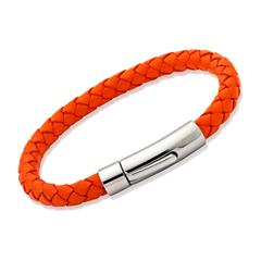 Armband echtes Leder 6mm Orange LB0099