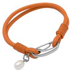 Armband Leder orange Süßwasserperle