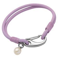 Leder Armband lila Süßwasserperle