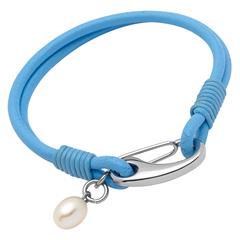 Lederarmband blau Süßwasserperle