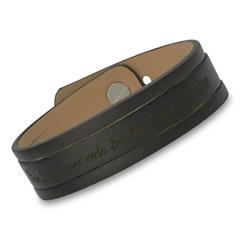 Schwarzes Echtleder-Armband mit Schlitzen