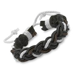 Armband Flechtdesign schwarz dunkelbraun weiß