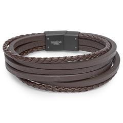 Gravierbares Armband in braun/schwarz 6 Strähnen