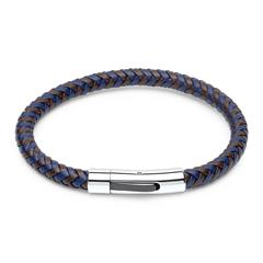 Geflochtenes Leder-Armband braun/blau