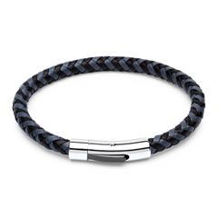 Geflochtenes Leder-Armband grau/schwarz