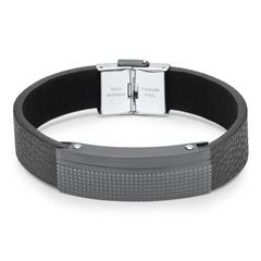 Unique Steel Lederarmband schwarz Gravuroption LB0464