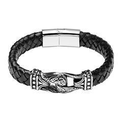 Herrenarmband aus schwarzem Leder und Edelstahl