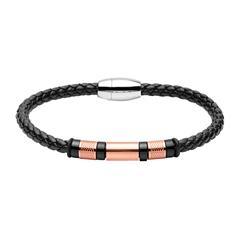 Armband für Herren aus Leder Edelstahl, schwarz rosé