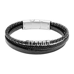 Engravable Bracelet In Black Imitation Leather For Men