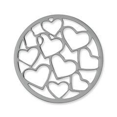 Münze Edelstahl Herzen silber