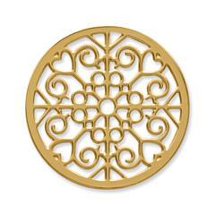 Münze Edelstahl Herzen Ornamente gelbgold