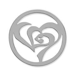 Münze Edelstahl stilisiertes Herz silber