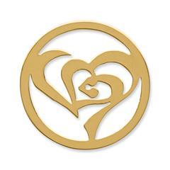 Münze Edelstahl stilisiertes Herz gelbgold