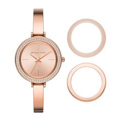 Ladies Watch In Rose Gold Stainless Steel, Interchangeable Bezels