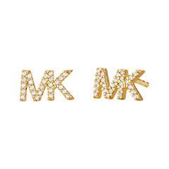 Vergoldete 925er Silber Ohrstecker MK mit Zirkonia