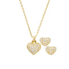 Jewellery Set Heart Chain And Ear Studs 925 Silver, Gold