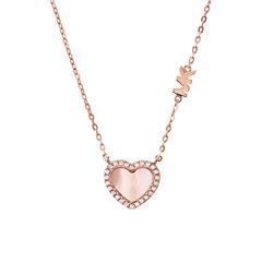 Herzkette aus rosévergoldetem 925er Silber mit Zirkonia