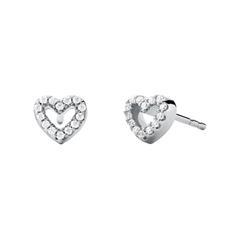 Heart stud earrings for ladies in 925 silver, zirconia
