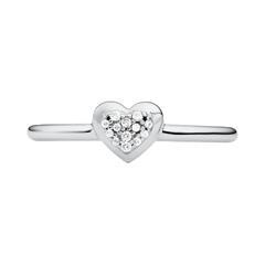 Herzring Premium für Damen aus 925er Silber, Zirkonia