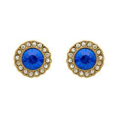 Blaue Ohrstecker Steinbesatz gold Modeschmuck