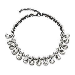 Modeschmuck-Halskette tropfenförmige Steine