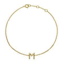 Armband aus 14K Gold mit 1 Buchstaben oder Symbol