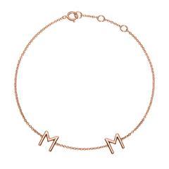 Damenarmband aus 14K Roségold, 2 Buchstaben, Symbole